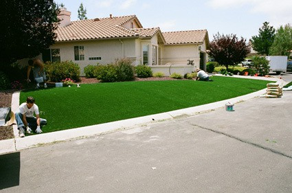 synthetic grass lawn almost ready